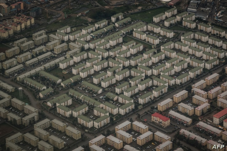 FILE - An aerial image shows apartments of Nyayo estate in Nairobi on April 16, 2018, speaking to a rising demand for housing in the Kenyan capital.