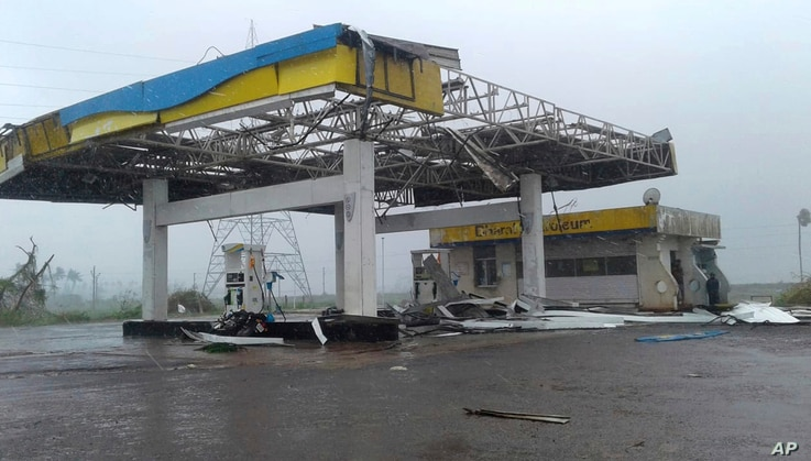 A fuel station was destroyed by Cyclone Fani after its landfall on the outskirts of Puri, in the Indian state of Odisha, May 3, 2019.