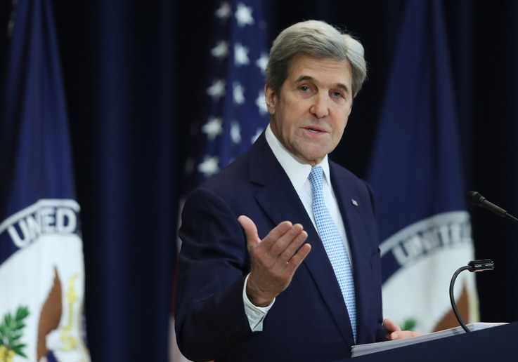 Secretary of State John Kerry speaks about Israeli-Palestinian policy, Dec. 28, 2016, at the State Department in Washington.