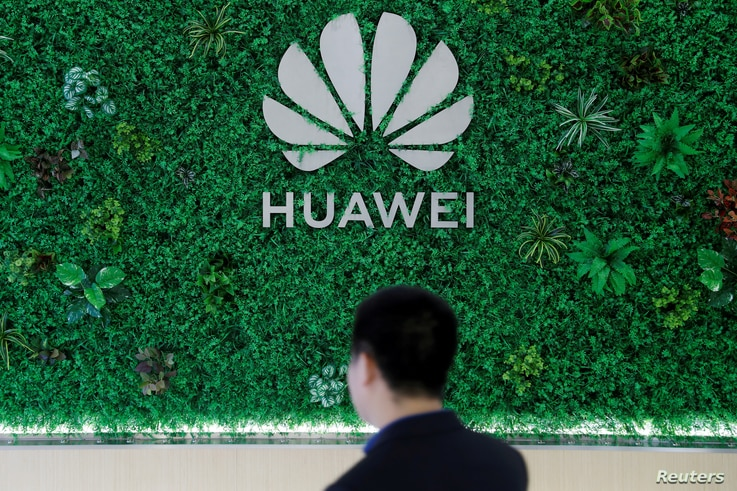 FILE PHOTO: Logo of Huawei is seen at its showroom in Shenzhen, Guangdong province, China, March 29, 2019.