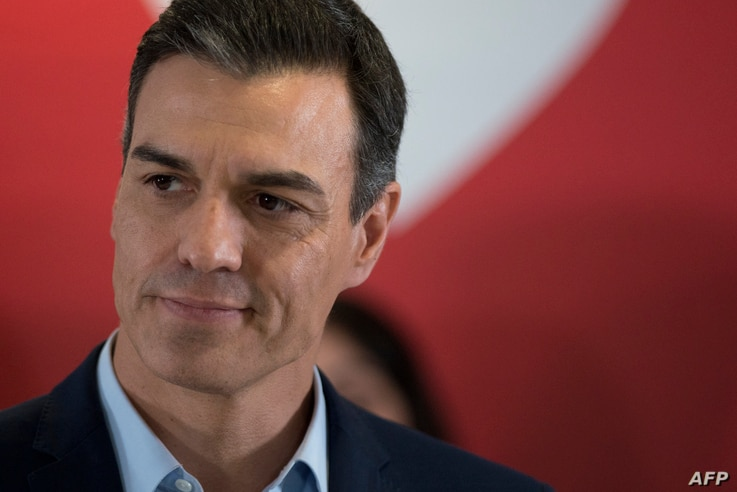 Spanish prime minister and candidate for prime minister for the Spanish Socialist Party (PSOE) Pedro Sanchez delivers a speech during a campaign rally in Granada on Apr. 25, 2019 ahead of  Apr. 28 general election.