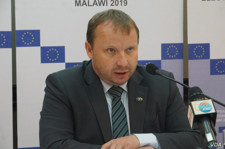 Miroslav Poche, chief of the EU observer mission for the Malawi elections, says that although the voting was generally peaceful, the playing field was not level. May 23, 2019. (L. Masina/VOA)