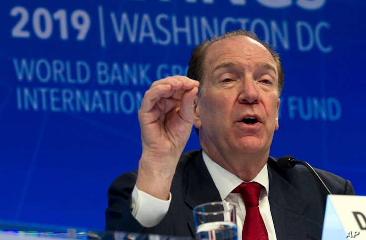World Bank President David Malpass speaks at a news conference during the World Bank/IMF Spring Meetings in Washington, April 11, 2019.