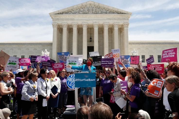 Democratic presidential candidate Sen. Amy Klobuchar, D-Minn., speaks during a protest against abortion bans, May 21, 2019, outside the Supreme Court in Washington.