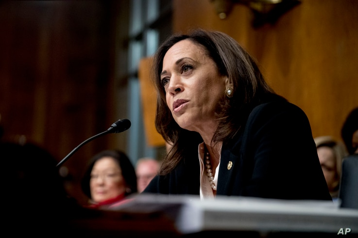 FILE - Sen. Kamala Harris, D-Calif., speaks as Attorney General William Barr testifies during a Senate Judiciary Committee hearing  on the Mueller Report on Capitol Hill in Washington, May 1, 2019.
