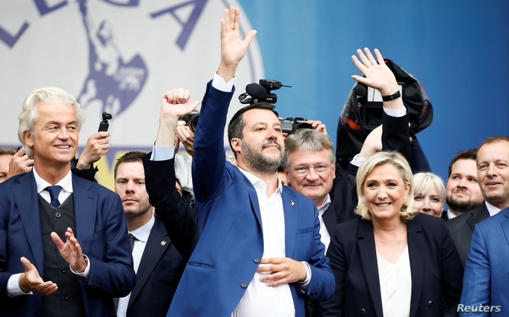 Geert Wilders, leader of Dutch party PVV (Party for Freedom), Italy's Deputy Prime Minister Matteo Salvini, Marine Le Pen, leader of French National Rally party attend a major rally of European nationalist and far-right parties in Milan, May 18, 2019...