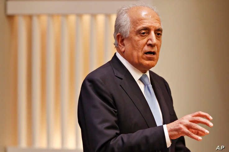 FILE - Special Representative for Afghanistan Reconciliation Zalmay Khalilzad speaks on the prospects for peace, Feb. 8, 2019, at the US Institute of Peace, in Washington.
