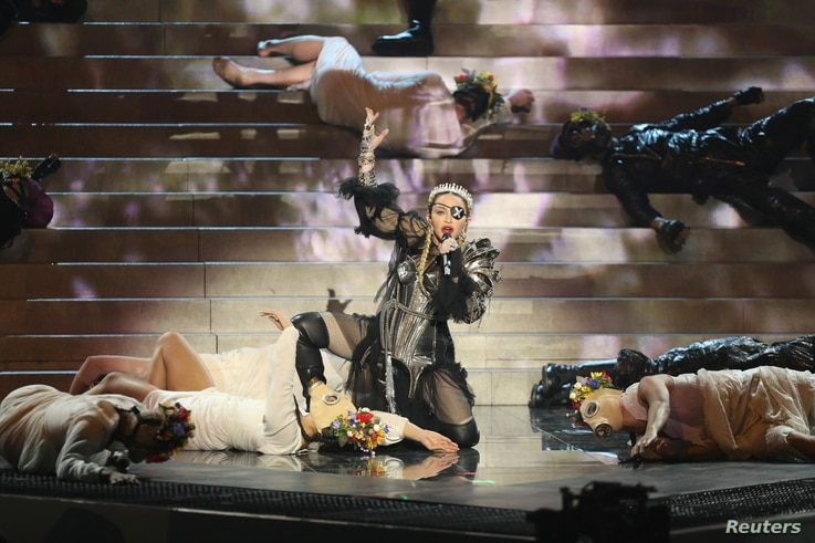 Madonna performs during a guest appearance at the Grand Final of the 2019 Eurovision Song Contest in Tel Aviv, May 19, 2019.