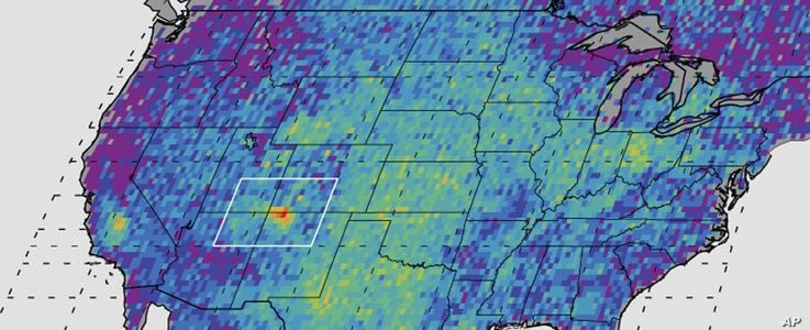 FILE - This undated handout image provided by NASA/JPL-Caltech/University of Michigan, shows the Four Corners area, in red, left, the major U.S. hot spot for methane emissions in this digital map, showing how much emissions varied from average backgr...