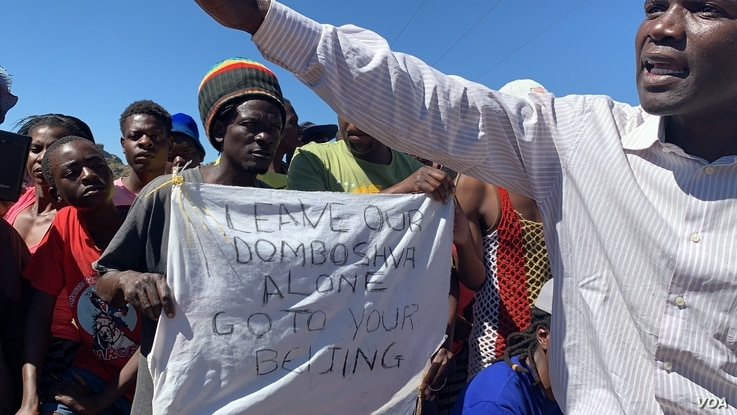 People in Domboshava,district  a rocky area about an hour drive northeast of Harare are mobilizing on May 6, 2019, against a Chinese company's move to open a quarry mine here.