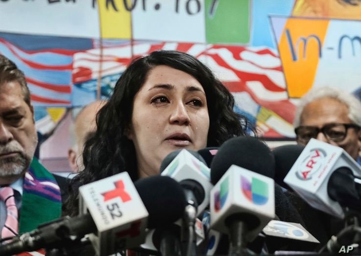 Melissa Castro weeps as she talks about her husband, Jose Luis Ibarra Bucio, during a news conference at the offices of the Coalition for Humane Immigrant Rights of Los Angeles, April 10, 2019, in Los Angeles.
