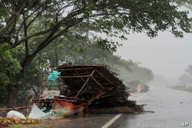 Street shops are seen collapsed because of gusty winds ahead of the landfall of Cyclone Fani on the outskirts of Puri, in the Indian state of Odisha, May 3, 2019. Indian authorities have evacuated hundreds of thousands of people ahead the cyclone.
