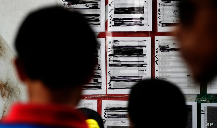FILE - Migrants seeking asylum in the United States check their names on a printed list that's posted on a board near the international bridge, April 30, 2019, in Matamoros, Mexico.