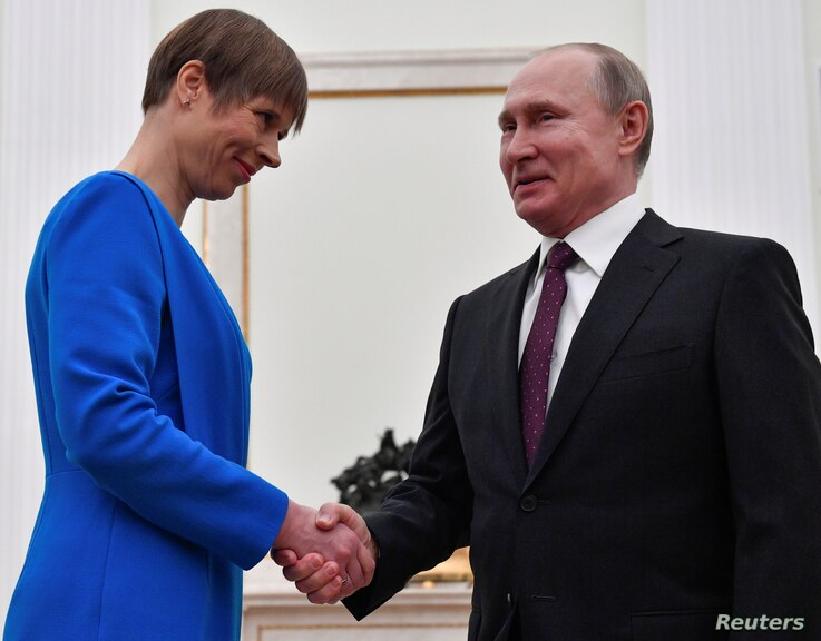 Russian President Vladimir Putin meets with his Estonian counterpart, Kersti Kaljulaid, at the Kremlin in Moscow, April 18, 2019.