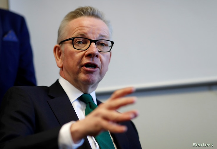 FILE: Britain's Secretary of State for Environment, Food and Rural Affairs Michael Gove speaks at a fringe meeting during the Scottish Conservative conference in Aberdeen, Scotland, Britain May 3, 2019.