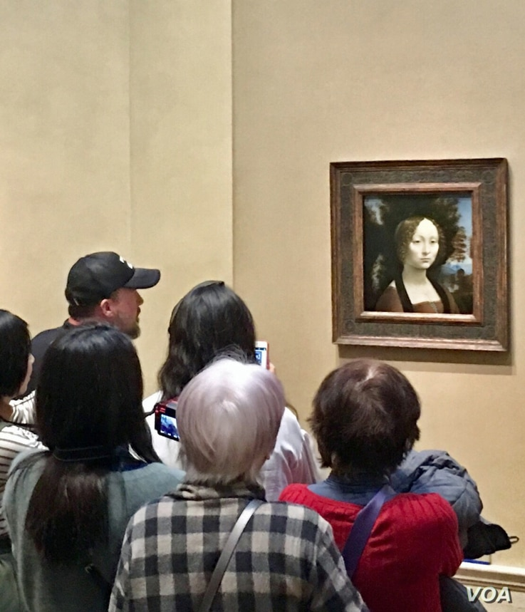 Ginevra de' Benci, original portrait painting by Leonardo da Vinci of the 15th-century Florentine aristocratic teenager. The National Gallery of Art in Washington bought it in 1967 for $5 million, a huge price at the time. (Photo: Diaa Bekheet)