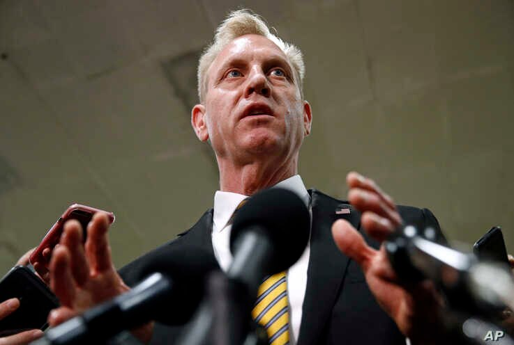 Acting Defense Secretary Patrick Shanahan speaks to reporters after a classified briefing for members of Congress on Iran, Tuesday, May 21, 2019, on Capitol Hill in Washington. (AP Photo/Patrick Semansky)