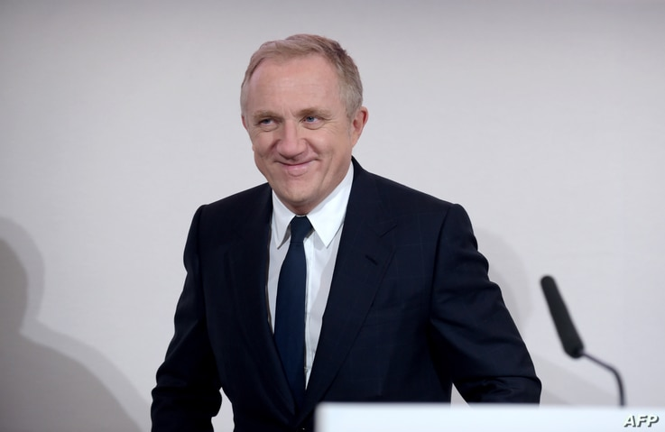 FILE - French luxury group Kering CEO Francois-Henri Pinault attends the presentation of the group's 2018 results at Kering's headquarters in Paris, Feb. 12, 2019.