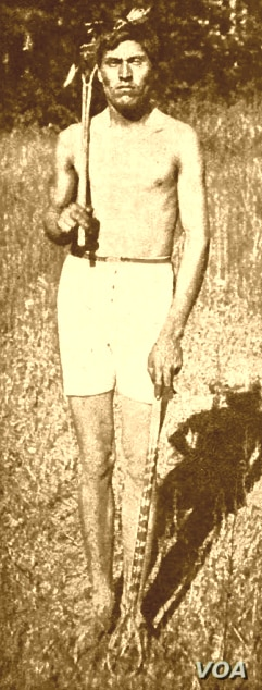 1907 photo of an unidentified Cherokee stickball player from the collection of the Smithsonian Institution.