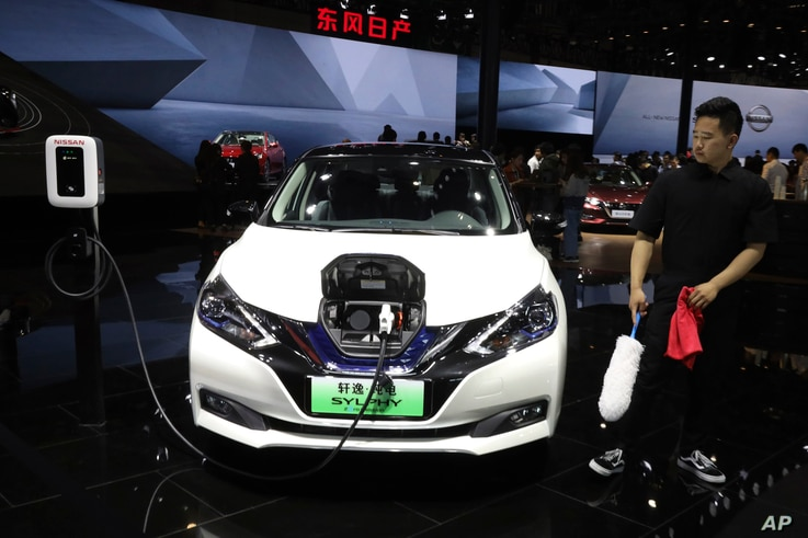 The Sylphy Zero Emission, an all-electric model designed for China is displayed at the Nissan booth during the Auto Shanghai 2019 show in Shanghai on Tuesday, April 16, 2019.