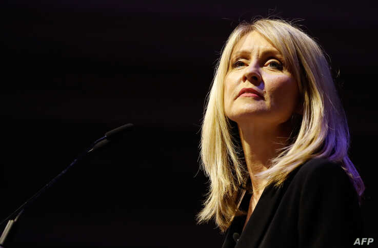 "Conservative Party MP Esther McVey speaks at a political rally entitled 'Lets Go WTO' hosted by pro-Brexit lobby group Leave Means Leave in London on January 17, 2019. - British Prime Minister Theresa May scrambled to put together a new Brexit strategy on Thursday after MPs rejected her EU divorce deal and demanded that she rule out a potentially disastrous ""no-deal"" split. (Photo by Tolga AKMEN / AFP)"