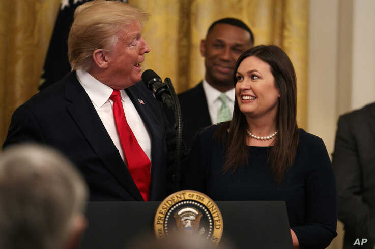 President Trump introduces press secretary Sarah Sanders.