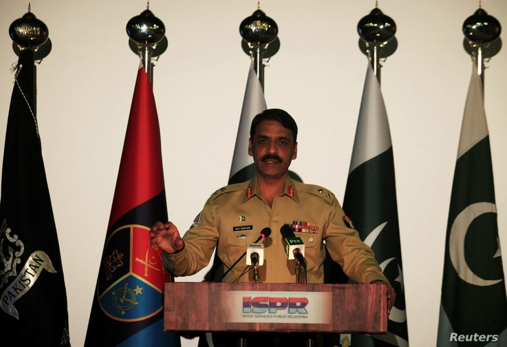 Maj. Gen. Asif Ghafoor, director general of Inter Services Public Relations (ISPR), speaks during a news conference in Rawalpindi, Pakistan, April 17, 2017.  REUTERS/Faisal Mahmood - RC12F9C45640