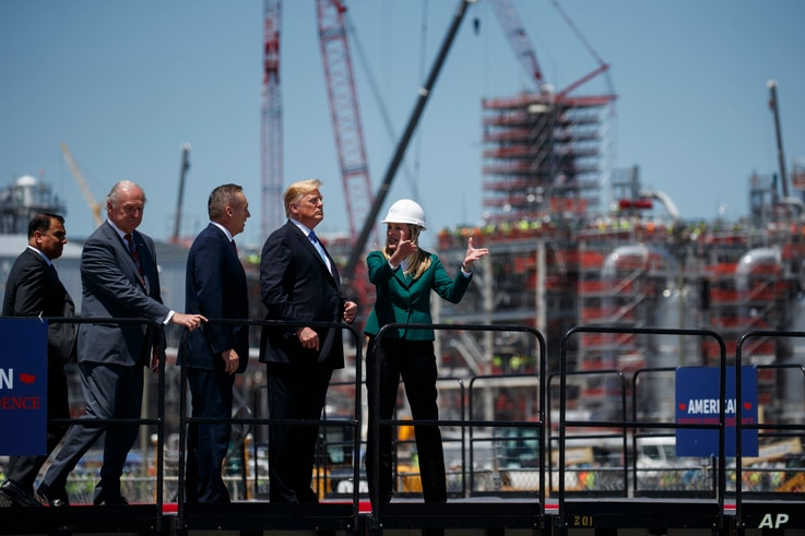 President Donald Trump participates in a tour of the Cameron LNG export facility in Hackberry, La., May 14, 2019.