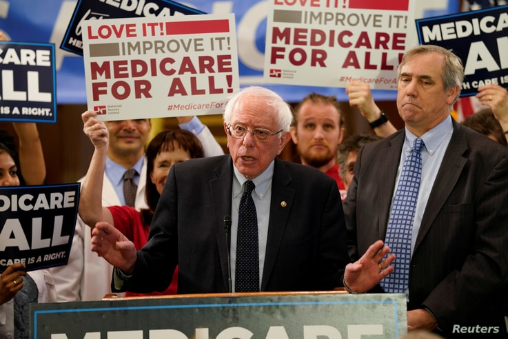 Democratic U.S. presidential candidate U.S. Sen. Bernie Sanders (I-VT) speaks at a news conference to introduce the Medicare for All Act of 2019 on Capitol Hill in Washington, April 10, 2019.