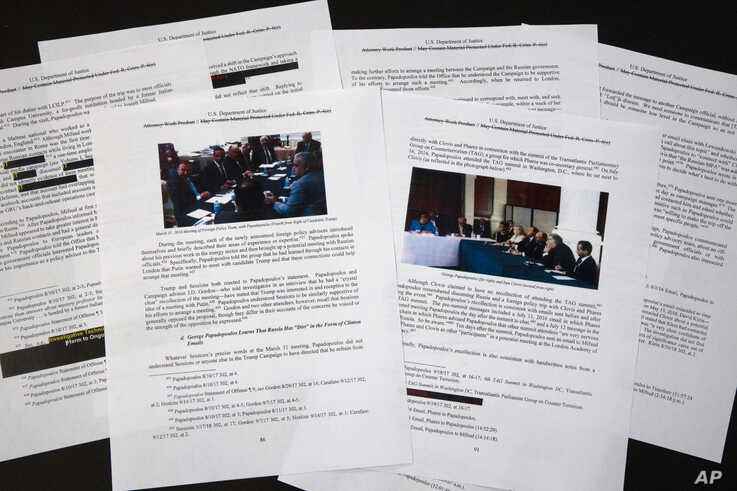 Special counsel Robert Mueller's redacted report on the investigation into Russian interference in the 2016 presidential election is photographed, April 18, 2019, in Washington.