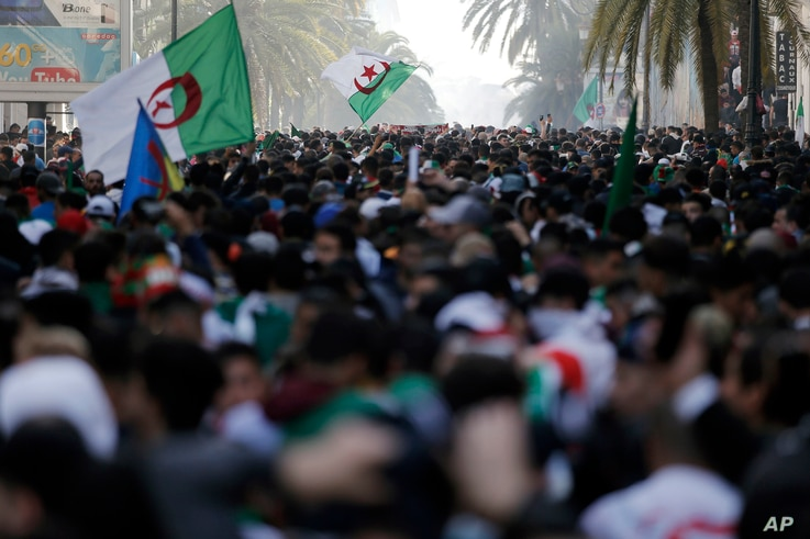 Tens of thousands of Algerians are seen gathered for a demonstration against the country's leadership, in Algiers, April 12, 2019.