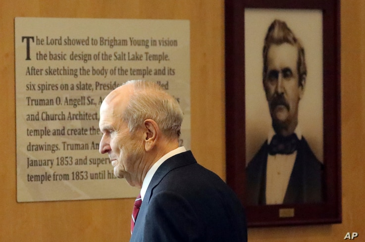 The Church of Jesus Christ of Latter-day Saints President Russell M. Nelson leaves after a news conference at the Temple Square South Visitors Center, April 19, 2019, in Salt Lake City.