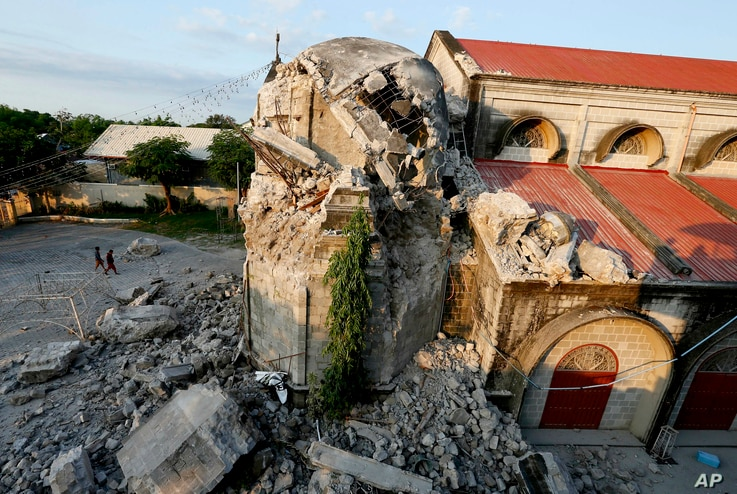 The damage of St. Catherine church following a 6.1 magnitude earthquake that also caused the collapse of a commercial building, is seen in Porac township, Pampanga province, north of Manila, Philippines, April 23, 2019.