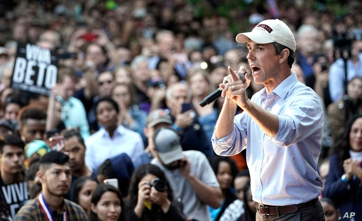 FILE - Democratic presidential candidate and former Texas congressman Beto O'Rourke speaks during his presidential campaign kickoff rally in Houston, March 30, 2019.