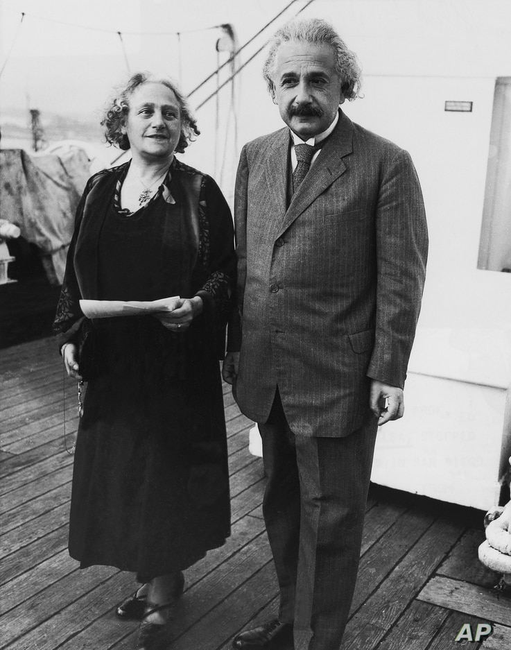 Albert Einstein and his wife Elsa, his first cousin, arrive in the port of San Diego, California, December 30, 1930.