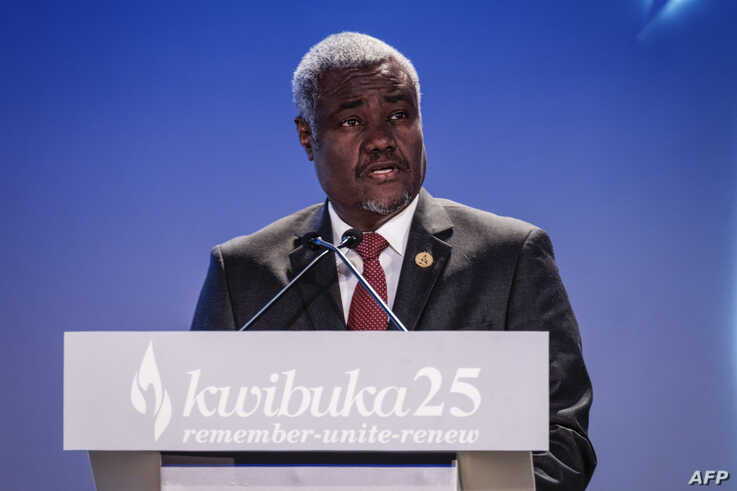 African Union chief Moussa Faki gives a speech during the 25th Commemoration of the 1994 Genocide at the Kigali Genocide Memorial in Kigali, Rwanda, April 7, 2019.