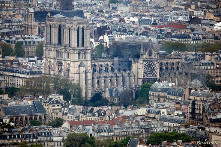 A view shows Notre-Dame Cathedral after a massive fire devastated large parts of the gothic structure in Paris, France, April 16, 2019.