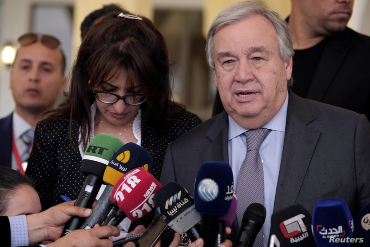 Secretary-General of the United Nations Antonio Guterres speaks during a news conference in Benghazi, Libya, April 5, 2019.