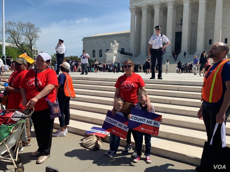 Protesters in front of US Supreme Court in Washington D.C. as justices hear arguments about citizenship question that Trump administration wants to add to questionaire, April 23, 2019.