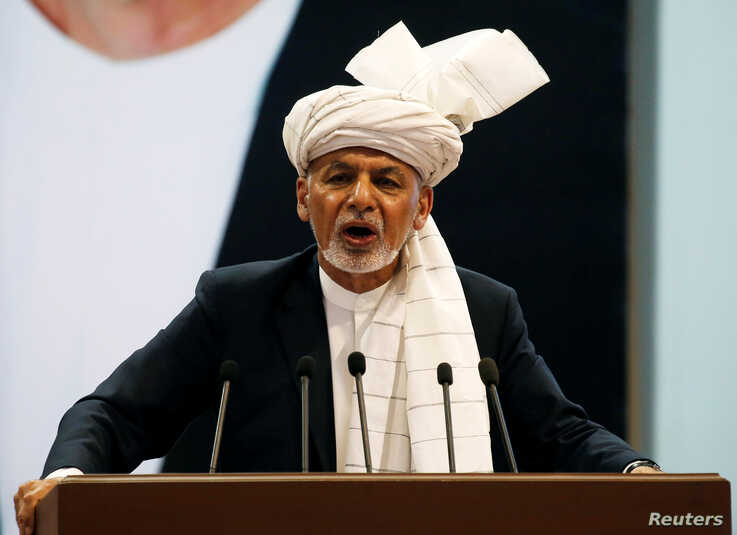 Afghanistan's President Ashraf Ghani speaks during a consultative grand assembly, known as Loya Jirga, in Kabul, Afghanistan April 29, 2019.