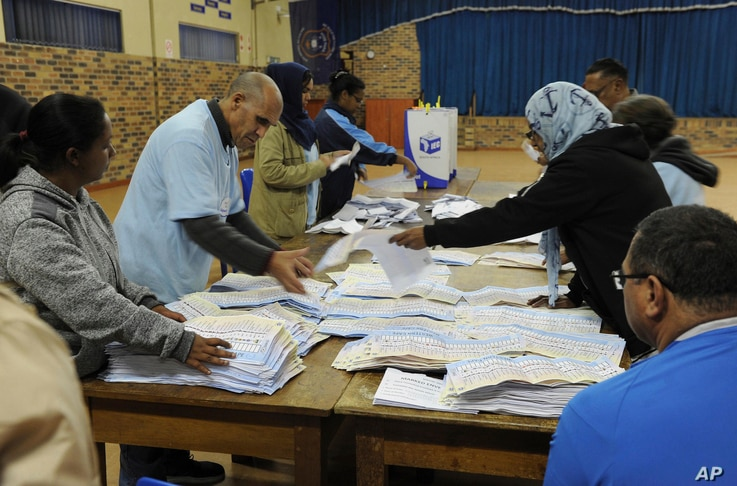 Vote counting begins at a polling station in Cape Town, South Africa,May 8, 2019.