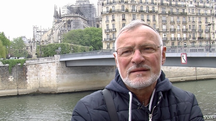 """""""Our heart is bleeding,"""" says former Paris firefighter Philippe Facquet, the day after the devastating fire at Notre Dame cathedral, April 16, 2019."""