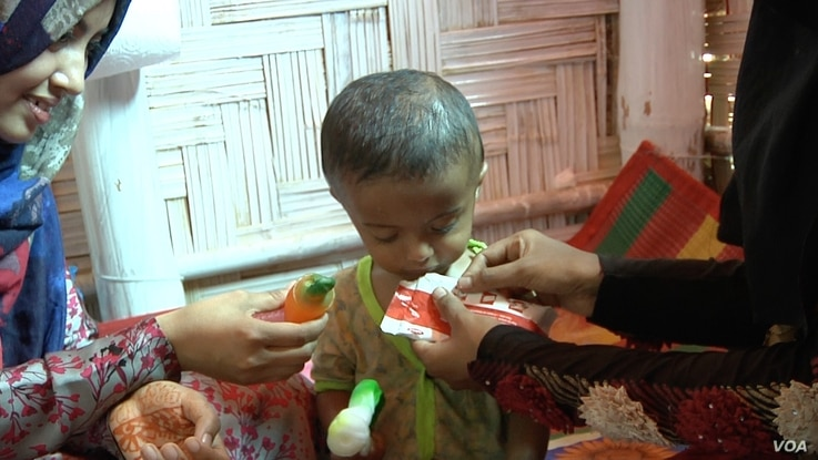 Children with severe acute malnutrition are fed special therapeutic food that's full of protein, vitamins and minerals.