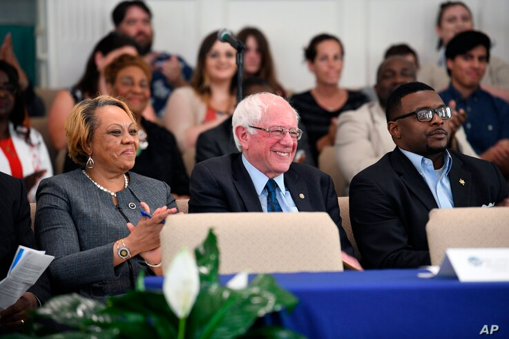 Sen. Bernie Sanders takes the stage ahead of a town hall with black lawmakers, April 18, 2019, in Spartanburg, S.C.