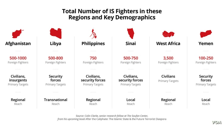 Number of IS Fighters in Key Regions