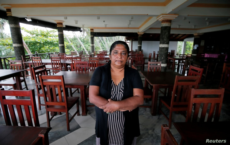 Samanmali Colonne, 51, poses for a photograph inside the Warahena Beach hotel in Bentota, Sri Lanka, May 2, 2019. She said all of her bookings canceled after the Easter bombings.