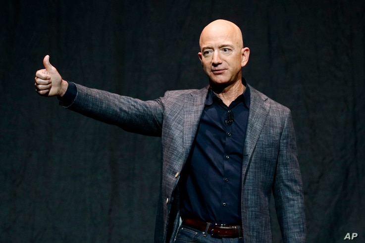 Jeff Bezos speaks at an event before unveiling Blue Origin's Blue Moon lunar lander, May 9, 2019, in Washington.