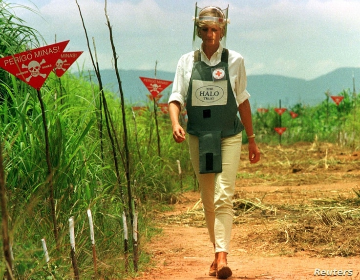 FILE - Diana, Princess of Wales is seen in this Jan. 15 1997 file picture walking in one of the safety corridors of the land mine fields of Huambo, Angola during her visit to help a Red Cross campaign to outlaw landmines worldwide.