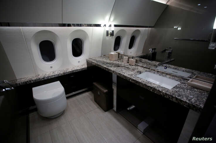 FILE - A bathroom of the Mexican Air Force Presidential Boeing 787-8 Dreamliner is pictured during a media tour at Benito Juarez International Airport in Mexico City, Mexico, Dec. 2, 2018.
