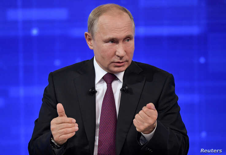 Russian President Vladimir Putin speaks during an annual nationwide televised phone-in show in Moscow, June 20, 2019.